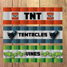 9 Mine Themed Licorice Wraps - TNT - Tentacles - Vines - DIY - Instant Download and Printable - New Design