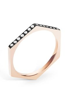 Selin Kent Hex Band in Blackened Rose Gold with Two-Sided White Diamonds at ShopGoldyn.com