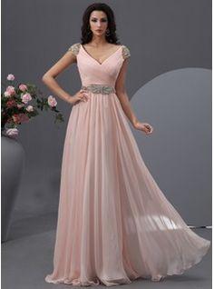 Corte A/Princesa Escote en V Vestido Gasa Vestido de baile de promoción con Volantes Bordado Lentejuelas (018022748) - JJsHouse
