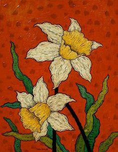 Daffodils by Mark Briscoe Irish Painters, Illustration Art, Illustrations, Impressionist Art, Green Art, Naive Art, Daffodils, Painting Inspiration, Flower Art