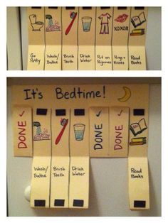 """My own DIY magnetic """"chore"""" flip chart. - My own DIY magnetic """"chore"""" flip chart. Kids Routine Chart, Kids Schedule Chart, Daily Schedule Kids, Schedule Board, Routine Printable, Printable Chore Chart, Diy For Kids, Crafts For Kids, Family Crafts"""