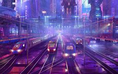 Download wallpapers city, railway station, trains, railway, illustration