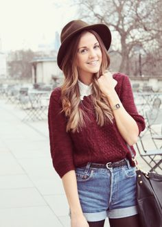 shirt + sweater + cute hat + tights #fallfashion