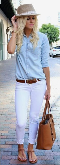 9b8d0cd790f A summer fedora hat looks cool worn with sky blue chambray shirt tucked in  white skinnies BUT I d rather have a little bit looser fitting white jean
