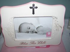 New Giftcraft Bless This Child 4 x 6 Frame White & Pink With Cross Baby Gift