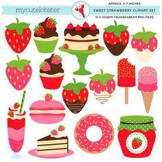 Sweet Strawberry Clipart Set clip art set por mycutelobsterdesigns