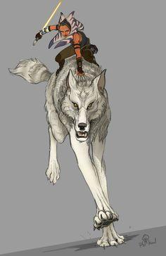 Ahsoka and a wolf