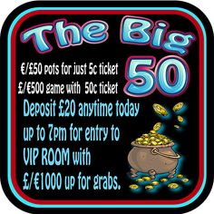 Join us tonight in VIP room for the BIG Simply deposit anytime today up to for entry. up for grabs. With pots for just ticket and an exclusive game with tickets for just Wednesdays at RehabBingo have become unmissable! Bingo Games, Ticket, Vip, Pots, Pottery, Cookware, Jars, Saucepans, Planters