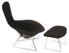 Knoll - Bertoia Bird Lounge Chair and Ottoman | Modern Furniture | Zinc Details