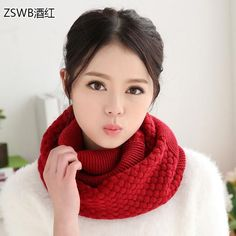 d30d23f9af1 knitted scarf women Fashion Pure neck Woolen Scarf Autumn Winter Scarf Women  Warm shawls 2 Circle Cable Knit Long scarf Ring