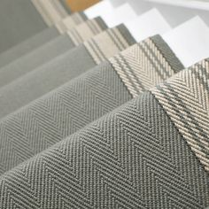 Neutral and Black Runners - Roger Oates Design Carpet Staircase, Hallway Carpet, Modern Staircase, Staircase Design, Spiral Staircases, Carpet Runner On Stairs, Entrance Hall Decor, White Stairs, White Hallway