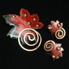 Leaf Set Brooch & Earrings Vintage Copper & Enamel Matisse Renoir   eBay