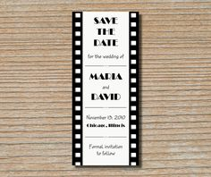 Save the Date Card - Film Strip Movie Reel in Black and White - Old Hollywood. $2.00, via Etsy.