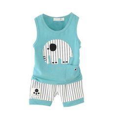Kid Clothes Set Baby Boys Casual Cotton Cartoon Sleeveless Vest + Stripe Shorts Children Sport Suit Set #Affiliate