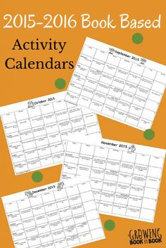 2015-2016 Book Based Activity Calendars great for classroom teachers to send as homework calendars or families to use at home!