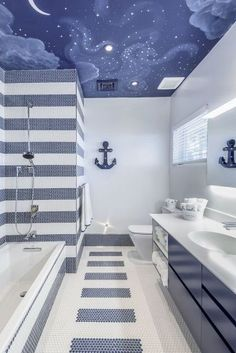 99 Charming Coastal Beach Bathroom Makeover Ideas - - – Creating a stylish bathroom is as easy as choosing the right accessories. Bathrooms and shower rooms are best left simple with white walls and neutral… - Childrens Bathroom, Bathroom Kids, White Bathroom, Bathroom Interior, Modern Bathroom, Bathroom Mural, Relaxing Bathroom, Master Bathroom, Casa Clean