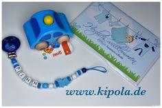 Schnullerkette nach Wunsch gefertigt , Holzauto mit Hupe & Karte White Out Tape, Tutorials, Flower Crochet, Wish, Baby Favors, Kids Wagon, Handmade, Cards