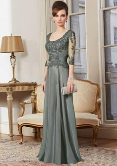 Lace Appliques Half Sleeves Long Mother of the Bride Dresses 2015 Designer Chiffon A-line Scoop Formal Evening Dress Plus Size Online with $111.21/Piece on Charmsdress's Store | DHgate.com