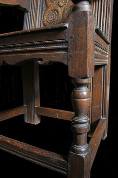 Detail of oak frame, from replica 17th century style armchair. Full product details here: http://www.earlyoakreproductions.co.uk/furniture/seating/solid-seat-chairs/product-462.php