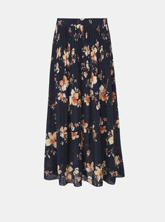Tmavě modrá květovaná plisovaná maxi sukně VERO MODA Reeda | ZOOT.cz Costume, Floral, Skirts, Fashion, Moda, Fashion Styles, Flowers, Costumes, Skirt