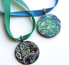 patina pendant from polymer clay - tutorial