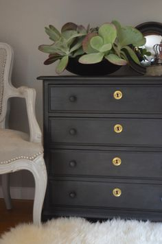 Shag rug, dresser idea too in Annie Sloan chalk paint in graphite. Chair is similar to mine from Dad