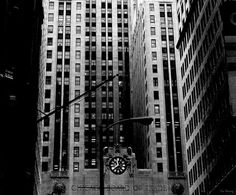 """Metropolis"" (Photo by Lin Haring) Black and white street photography -- Base of Chicago Board of Trade Building, Chicago, Illinois, 1985"
