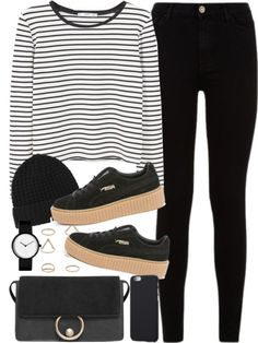 outfit for university with puma creepers by ferned featuring a