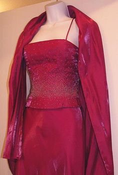 FAVIANA Beaded Gown with Shawl Fuschia by ClothesClosetBoutiq,