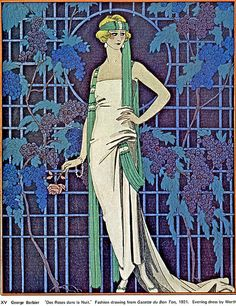 Superb Deco Fashionable Flapper--Vintage Barbier Illustration From a book on Deco fashions from the 70s.