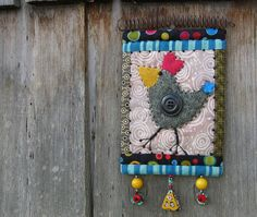 miniature bird quilt wall hanging - quirky one of a kind bird folk art