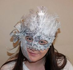 Mardi Gras Mask White and Silver Snow Queen by LaBandeauxBowtique