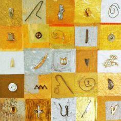 "Saatchi Art Artist Elena Mary Siff; Collage, ""Golden Grid"" #art"