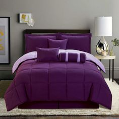 Purple Comforter Sets | PC Comforter Set New Soft Reversible Bed in A Bag Black White Purple ...