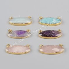 Wholesale Gold Plated Natural Amethyst Rose Quartz Blue Amazonite Charm Long Egg…
