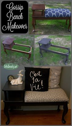 ART IS BEAUTY: Gossip Bench I could make this from a coffee and end table I have-great idea