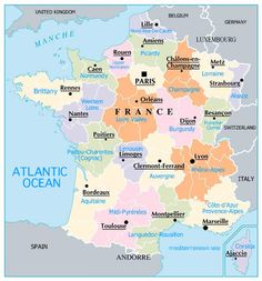 MAP OF FRANCE REAGIONS WITH CITIES   France Map  MAPPING OUT 2014 TRIP.....