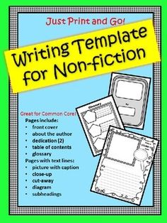 This is the perfect NO PREP informational text writing template for your whole unit! It is a 10 page non-fiction template that can be used with any topic. Separate pages include: a cover, dedication, about the author, table of contents, photo with caption, photo with close-up, diagram, sub-headings, cut-away, and glossary.