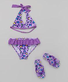 Look what I found on #zulily! Purple Leopard Bikini & Flip-Flop - Girls #zulilyfinds