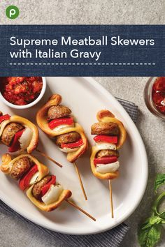 Dip kabobs into tomato-based Italian gravy sauce. Skewer Recipes, Appetizer Recipes, Publix Recipes, Cooking Recipes, Italian Gravy, Potlucks, Skewers, Tasty Dishes, Lunches