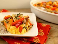 Roasted Root Vegetable & Polenta Casserole. Serve 1 cup of this as the carb portion of your meal- you'll get some nonstarchy veg and a bit of protein too! (TG)