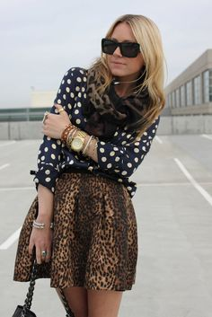 Polka dots and leopard print.