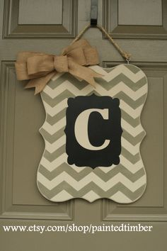 Personalized door hanger or chalk board chevron by PaintedTimber, $50.00