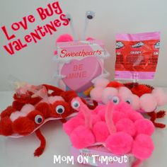 Love Bug Valentines make the standard boxes of sweethearts much more fun and cute too! You can also use the Love Bugs to deliver suckers and other candies.