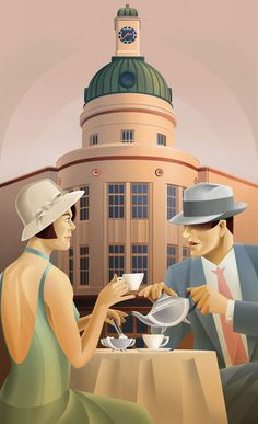 Stephen Fuller (), New Zealander / drawing of couple in 1920s dress at tea table in front of art deco A & B Corner building w/ dome clock tower in Napier, New Zealand ... from series of illustrations for roadsigns, posters & postcards celebrating the numerous art deco buildings in the Art Deco capital