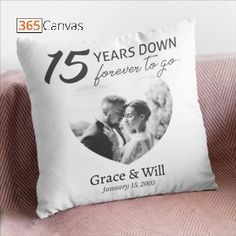 15 years down forever to go personalized pillows are romantic gifts for your partner who has been with you for over a decade. The biggest 15th anniversary deserves to be celebrated with style. This personalized pillow comes with an eye-catching design that will make you fall in love with it instantly. #15thanniversary #personalizedpillows #pillowsdecorativeoncouch #customphoto #personalizedanniversarygift #throwfillow