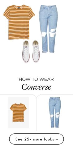 """""""cotton tee, boyfriend jeans, white converse"""" by tay1a on Polyvore featuring Monki, Topshop and Converse"""
