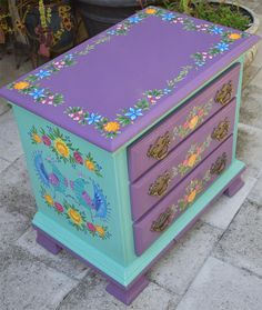 Hand Painted Solid Wood Chest of Drawers/Nightstand. Size 26 x 16 x 24 inches. by SunSoulCreations on Etsy Whimsical Painted Furniture, Painted Chairs, Hand Painted Furniture, Funky Furniture, Colorful Furniture, Paint Furniture, Repurposed Furniture, Furniture Makeover, Painted Tables