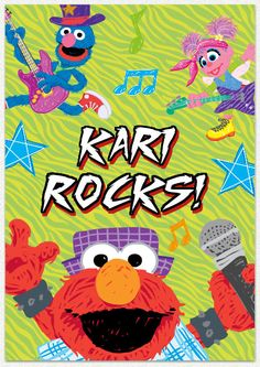 Sesame Street Elmo Rocks Custom Name Wall Decal   Wall Sticker Outlet