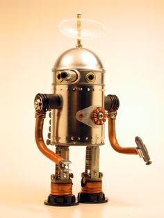 Andybots - the miniature robot legion Vintage Robots, Retro Robot, Arte Robot, I Robot, Mark Ryden, Eve Online, Mike Mignola, Cyberpunk, Steampunk Robots